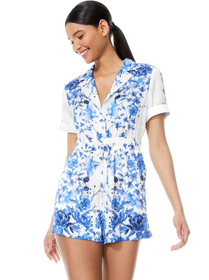 LEIGHTON FLORAL PAJAMA ROMPER - FORGET ME NOT PERIWINKLE MLTI - Alice And Olivia