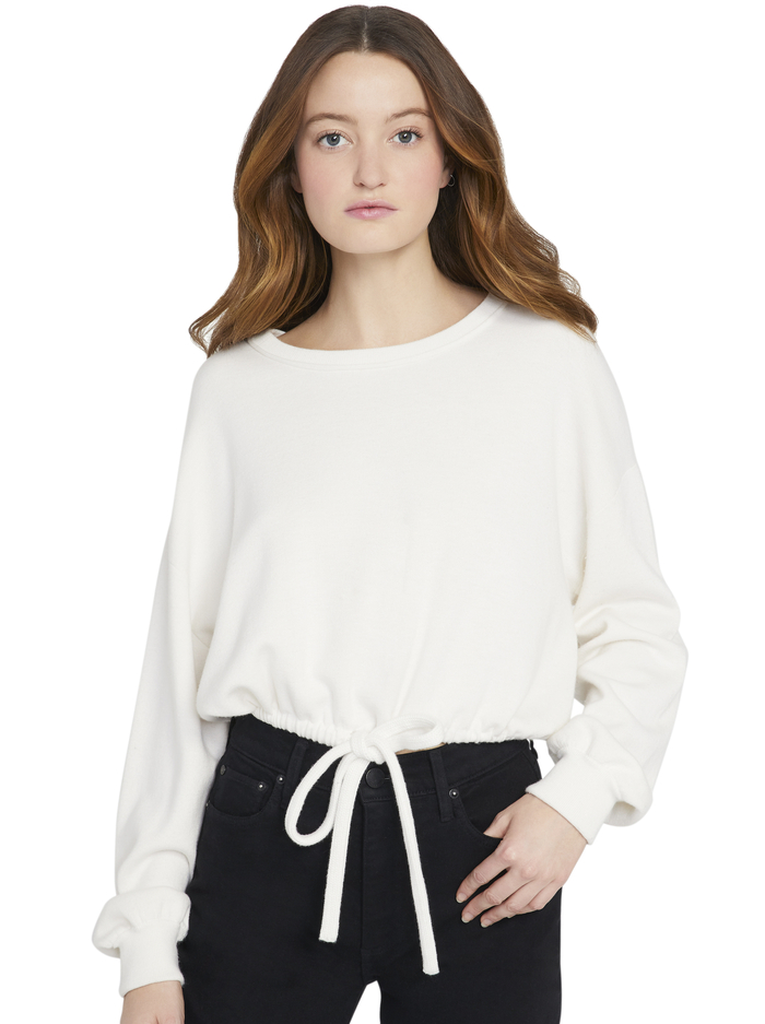 BERNETTA PULLOVER WITH DRAWSTRING - SOFT WHITE - Alice And Olivia