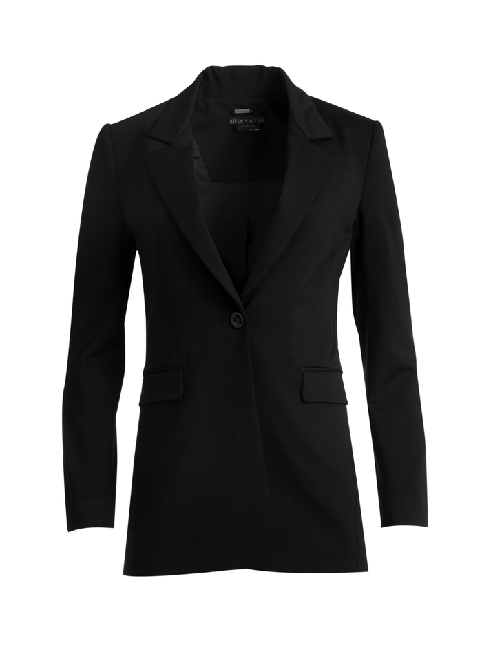 MACEY NOTCH COLLAR FITTED BLAZER - BLACK - Alice And Olivia