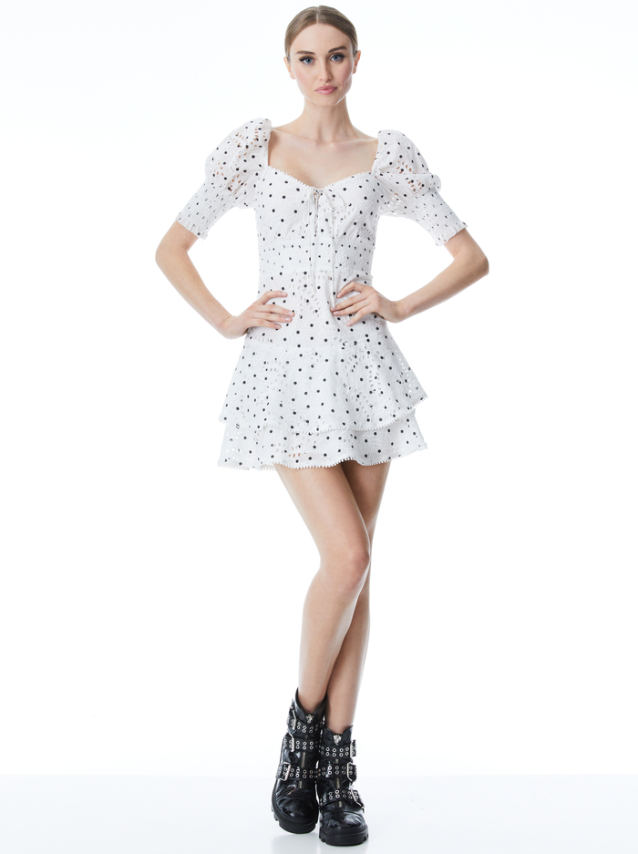 CRAWFORD SWEETHEART MINI DRESS - CUTIE POLKA DOT ANTIQUE WHITE - Alice And Olivia