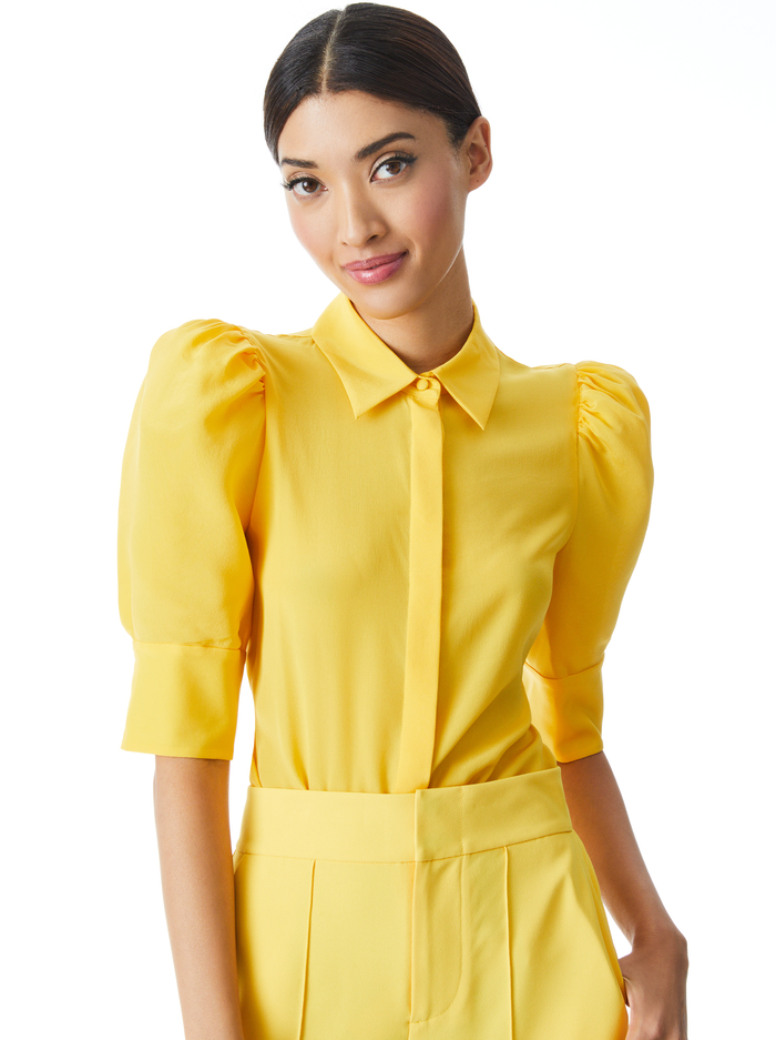 WILLA SCRUNCHED SLEEVE BLOUSE - GOLDEN ROD - Alice And Olivia