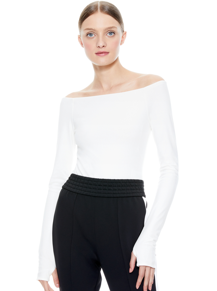 ZADIE OFF THE SHOULDER BODYSUIT - OFF WHITE - Alice And Olivia