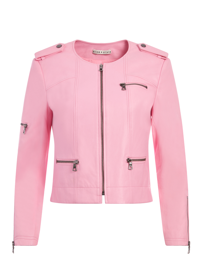 CAM LEATHER BIKER JACKET - ELECTRIC PINK - Alice And Olivia