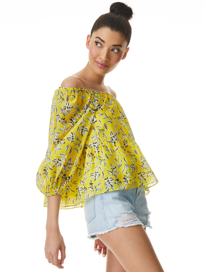 ALTA OFF THE SHOULDER BLOUSE - FREE SWINGING SUNBEAM - Alice And Olivia