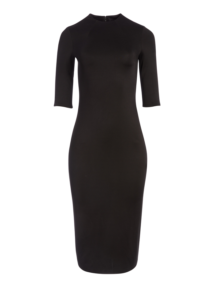 DELORA FITTED MIDI DRESS - BLACK - Alice And Olivia