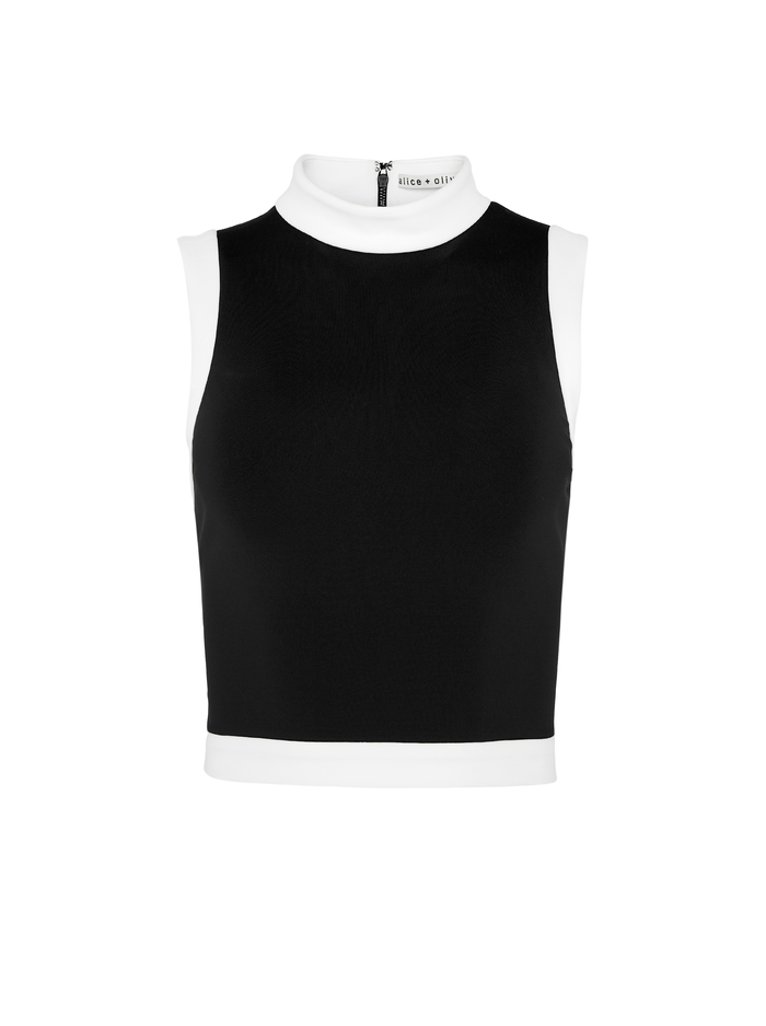 AO X TIKTOK MORY CROP TOP - BLACK/OFF WHITE - Alice And Olivia