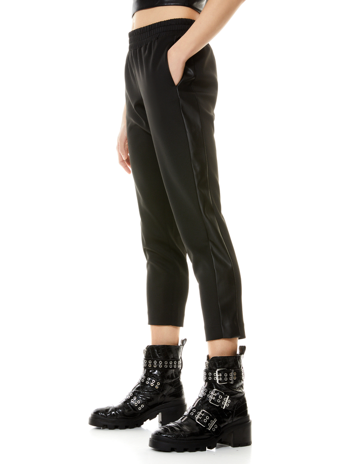 BENNY TAPERED PULL ON PANT - BLACK - Alice And Olivia