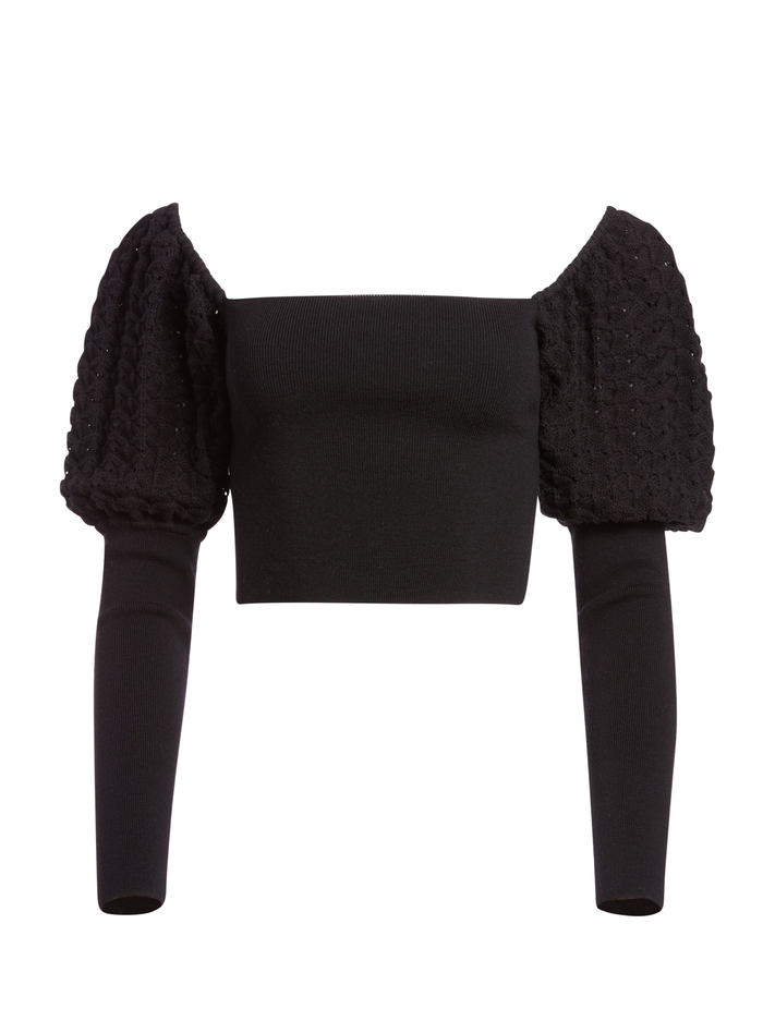 EVALEE PUFF SLEEVE CROPPED SWEATER - BLACK - Alice And Olivia