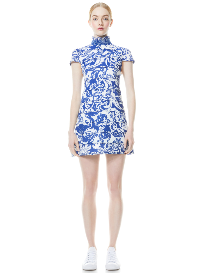 KARISSE MOCK NECK MINI DRESS - ROMAN HOLIDAY BLUE EYES - Alice And Olivia