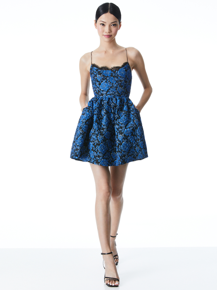 KENDRA FLORAL MINI DRESS - COBALT/BLACK - Alice And Olivia
