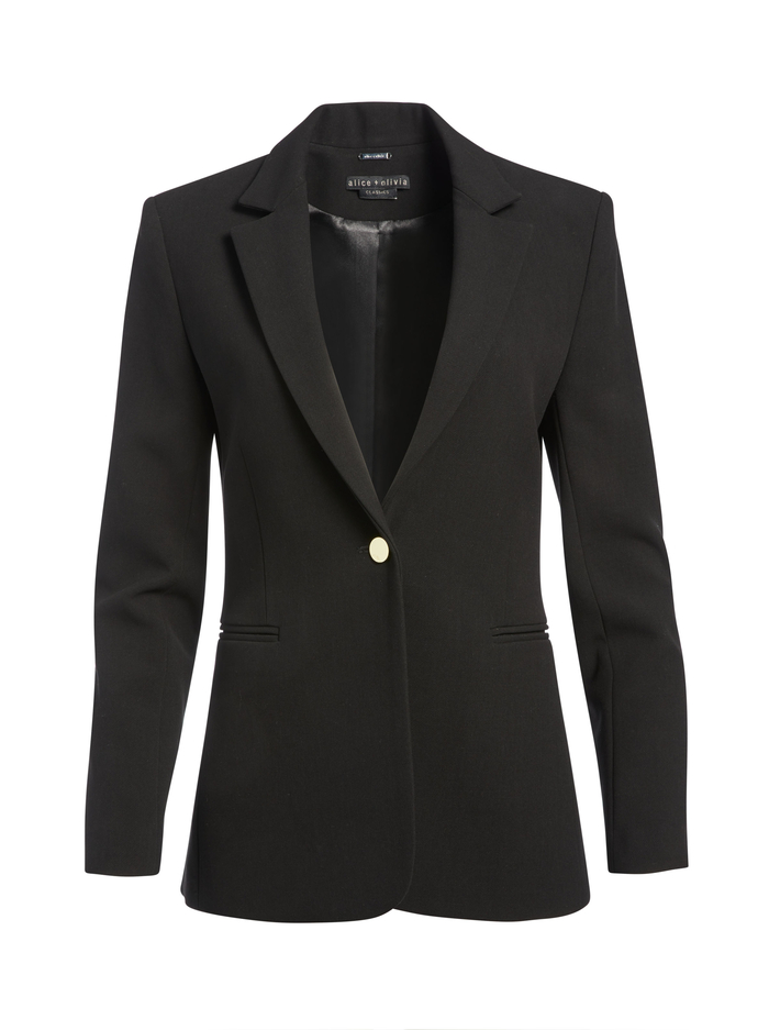 BRISTOL NOTCH COLLAR FITTED BLAZER - BLACK - Alice And Olivia