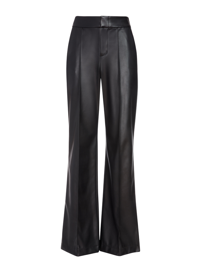 DYLAN VEGAN LEATHER WIDE LEG PANT - BLACK - Alice And Olivia