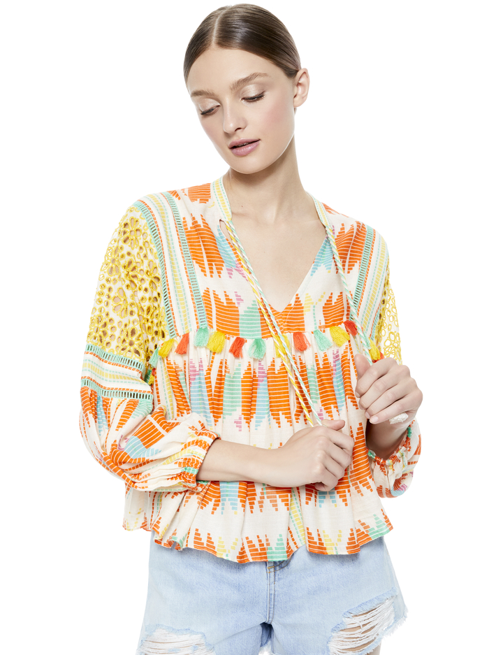 ROSANA TUNIC TOP WITH TASSELS -  - Alice And Olivia
