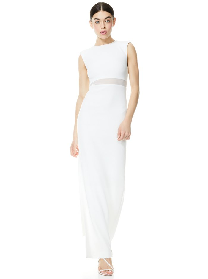 WHITLEY SLEEVELESS GOWN - OFF WHITE - Alice And Olivia