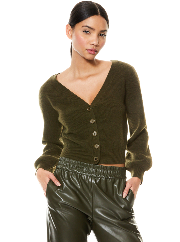 DEE OFF THE SHOULDER CARDIGAN - OLIVE - Alice And Olivia