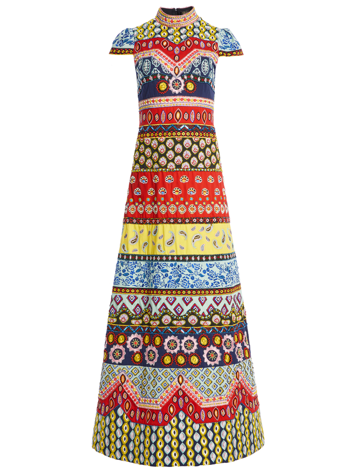 ARWEN EMBROIDERED ALINE GOWN - MULTI - Alice And Olivia