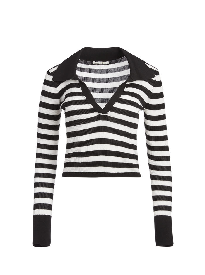 DARALEE FITTED POLO - BLACK/WHITE - Alice And Olivia