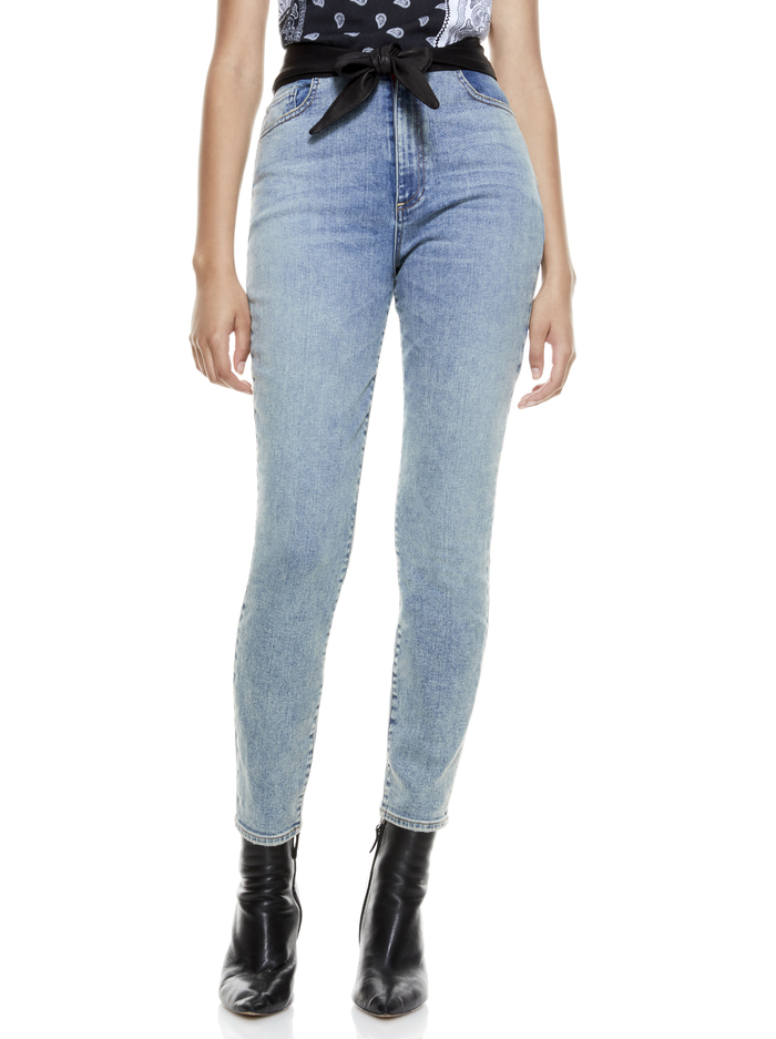 GOOD LEATHER TIE WAIST SKINNY JEAN - OUT OF THE BLUE - Alice And Olivia
