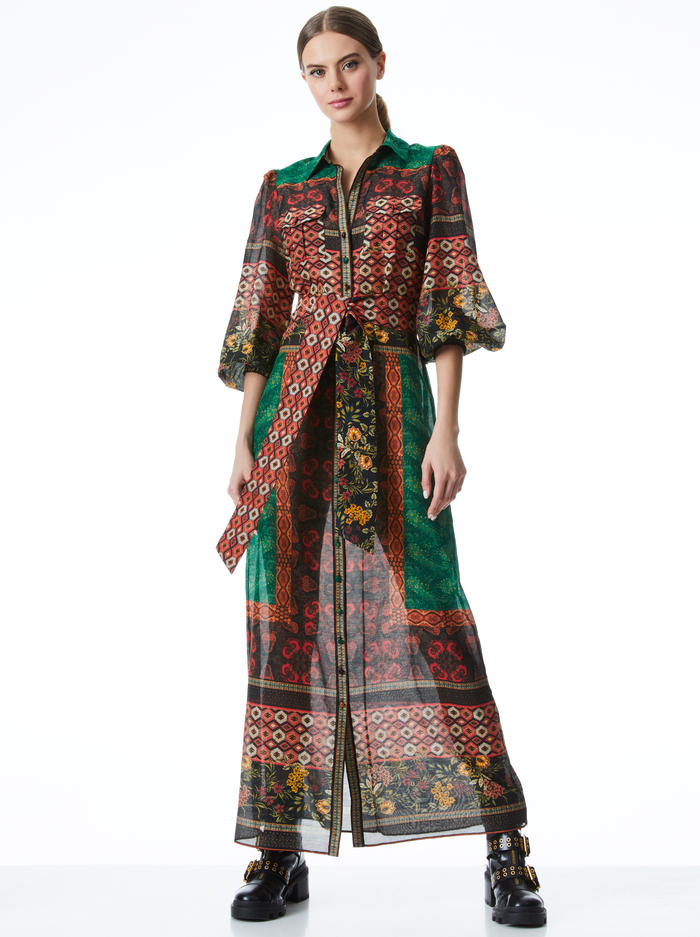 BEVERLY BUTTON FRONT MAXI DRESS - NOMAD MULTI - Alice And Olivia