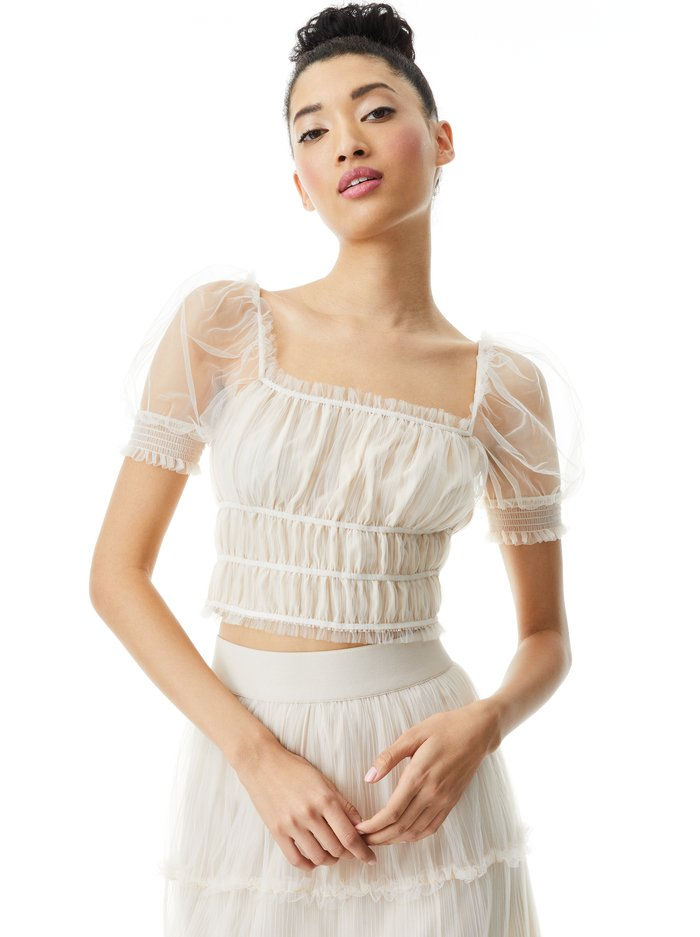 ASHLYN CROP TOP - CHAMPAGNE - Alice And Olivia