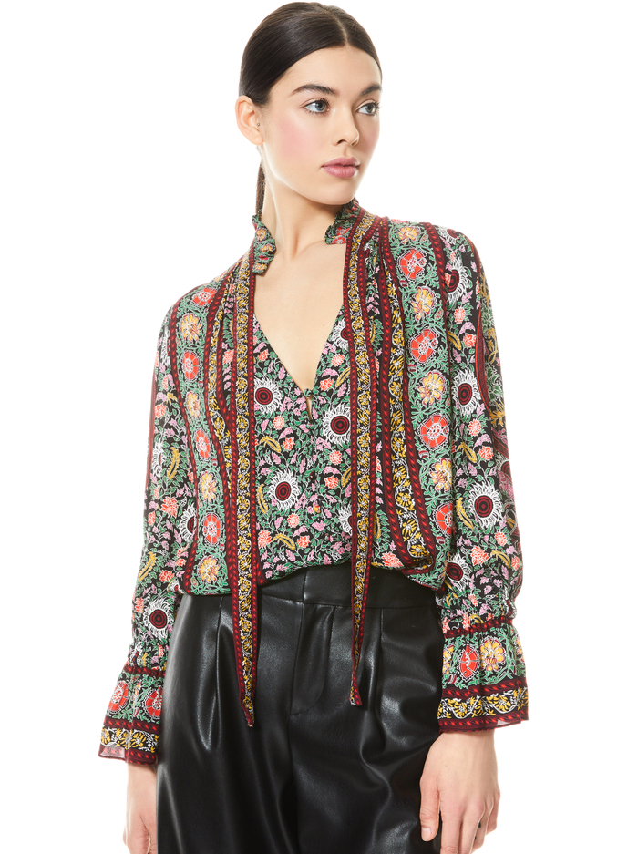 REILLY RUFFLE COLLAR BLOUSE - FLOWER POT BLK MULTI - Alice And Olivia