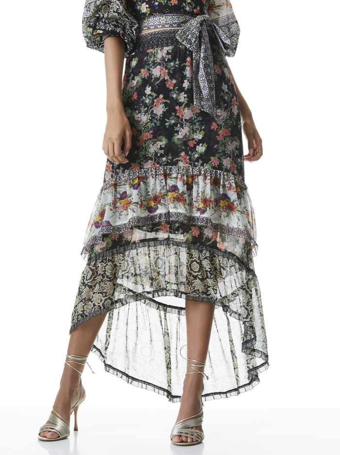 CARALIE HIGH LOW SKIRT - DREAM CASTLE MULTI - Alice And Olivia