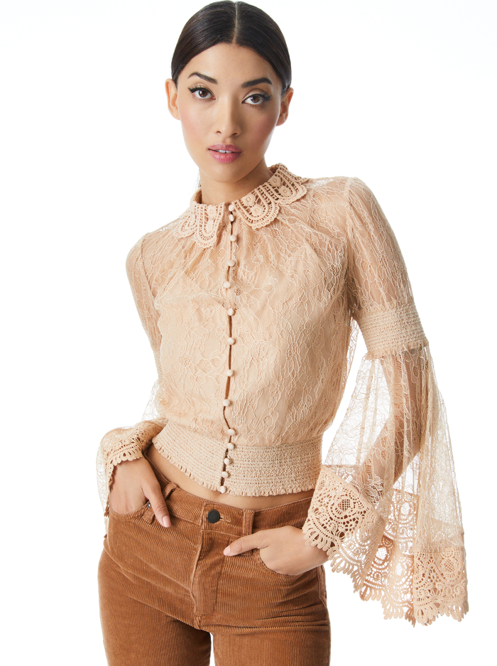 MILLIE CROCHET COLLAR BLOUSE - ALMOND - Alice And Olivia
