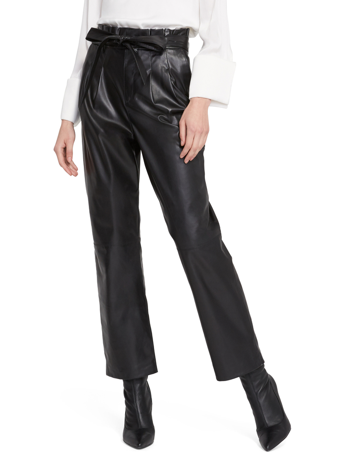 RYAN LEATHER PAPER BAG ANKLE PANT - BLACK - Alice And Olivia