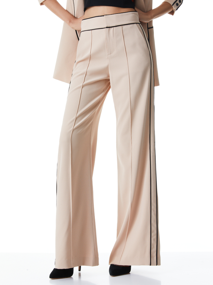 DYLAN PIPED HIGH WAIST PANT - ALMOND/BLACK - Alice And Olivia