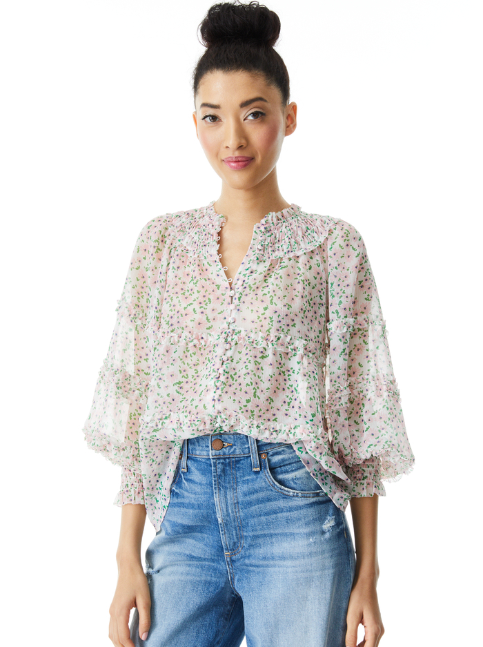 MARGERY BUTTON FRONT FLORAL BLOUSE - MONTEREY DITSY SOFT WHITE - Alice And Olivia