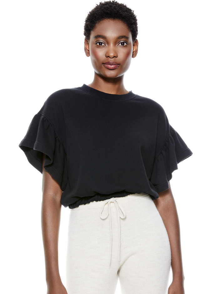 JOLINE RUFFLE SLEEVE CROPPED PULLOVER - BLACK - Alice And Olivia