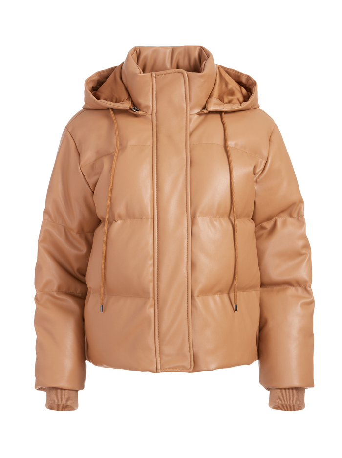 ROBINSON VEGAN LEATHER PUFFER - CAMEL - Alice And Olivia