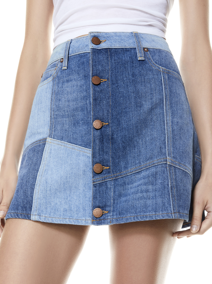 GOOD HIGH RISE PATCHWORK SKIRT - HAPPY GO LUCKY - Alice And Olivia