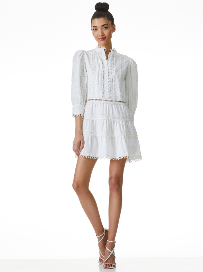 CLARK MANDARIN COLLAR MINI DRESS - OFF WHITE - Alice And Olivia