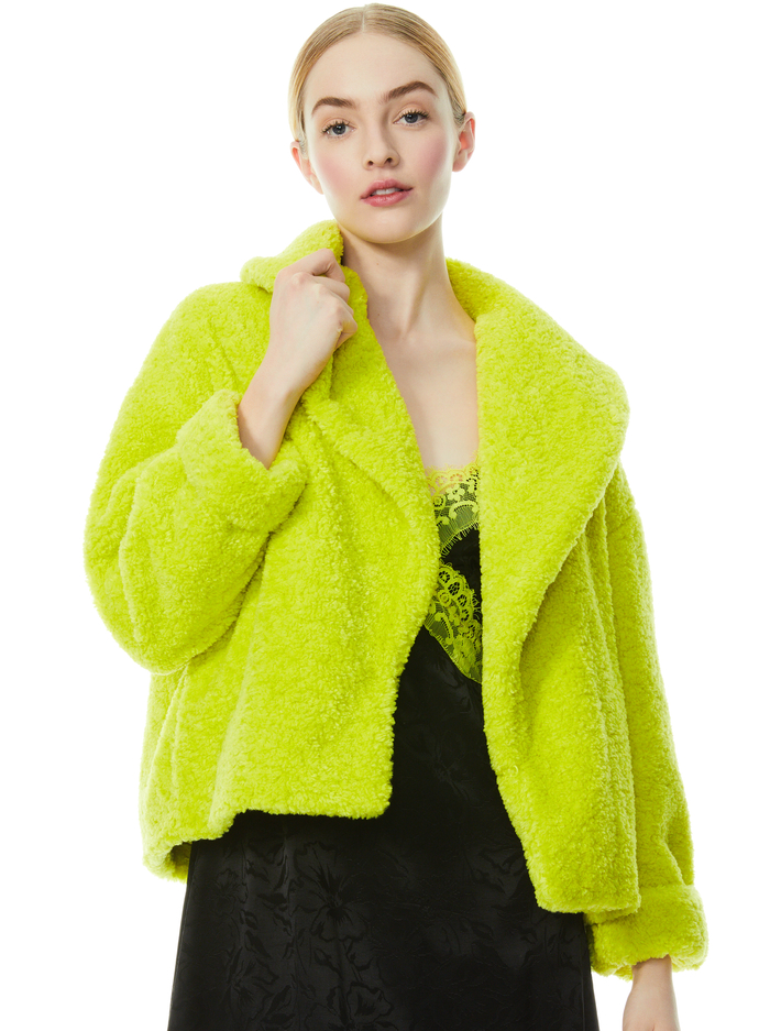 ORA FAUX FUR COAT - LIME PUNCH - Alice And Olivia