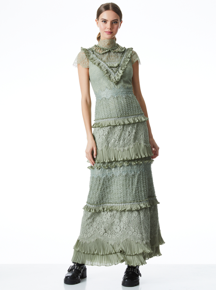ALBERTINE LACE EMBROIDERED MAXI DRESS - SAGE - Alice And Olivia