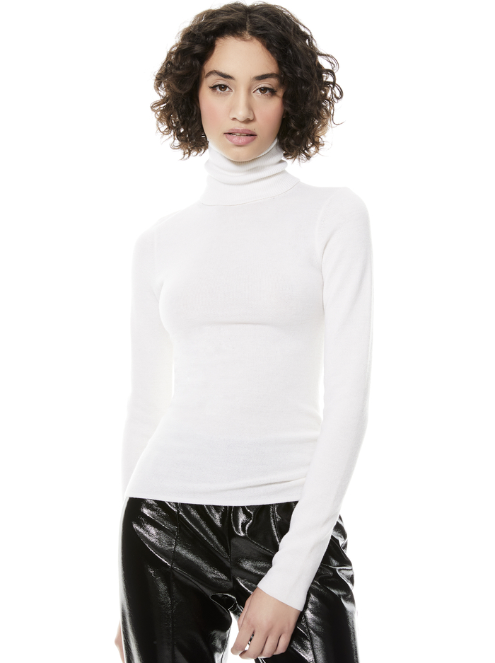 ERMELINDA TURTLENECK PULLOVER - SOFT WHITE - Alice And Olivia