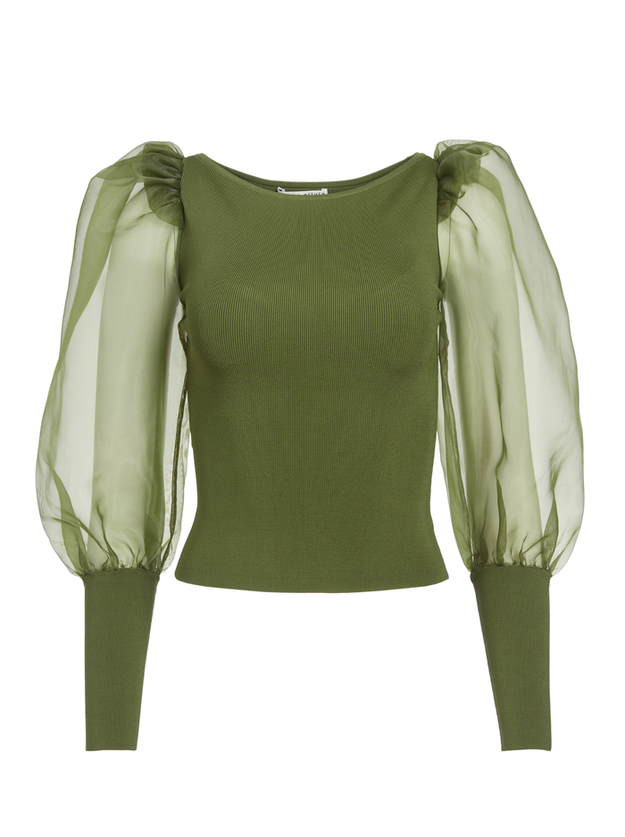 ABELLA PUFF SLEEVE CROP TOP - ARMY GREEN - Alice And Olivia