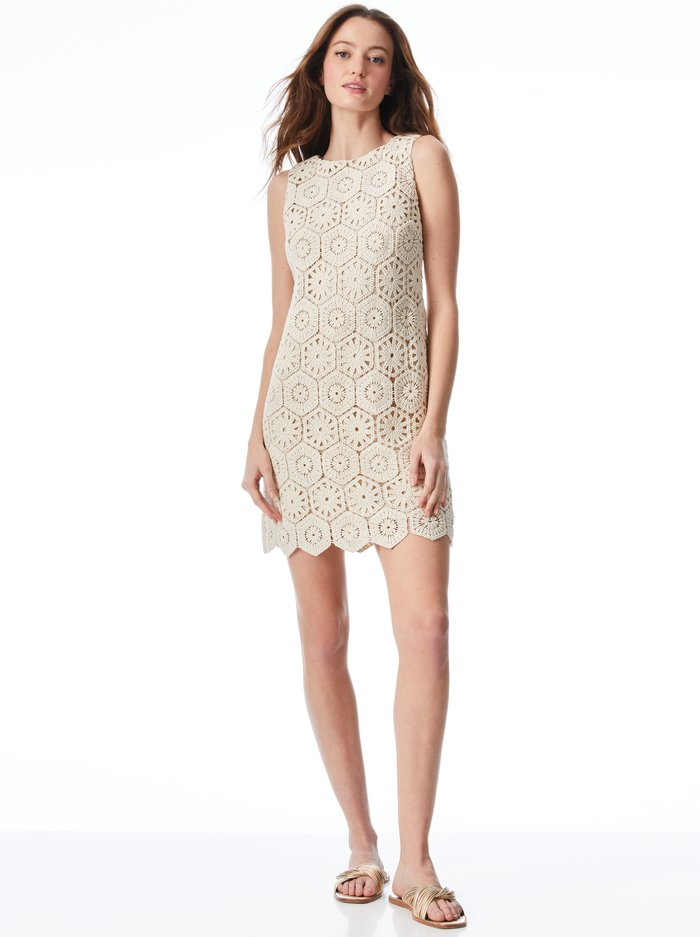 CLYDE CROCHET SHIFT DRESS - SAND - Alice And Olivia