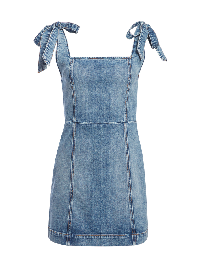 MARYANN TIE SHOULDER MINI DRESS - SHE GETS WHAT SHE WANTS - Alice And Olivia