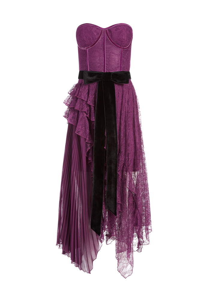 BREE BUSTIER MAXI DRESS - BOYSENBERRY - Alice And Olivia