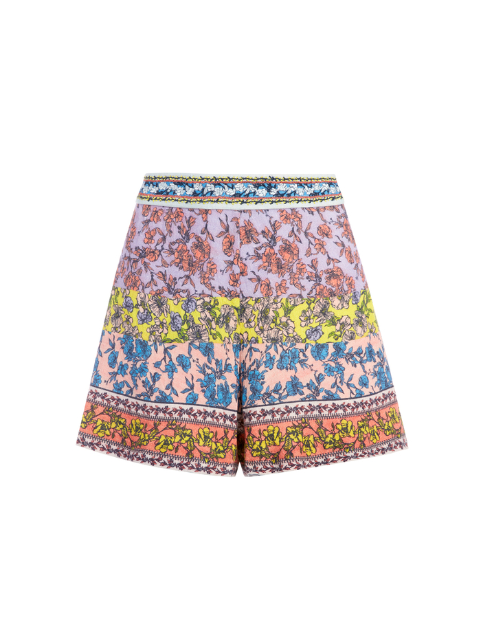 BLAINE EMBROIDERED FLARE SHORTS - DITSY BORDER - Alice And Olivia