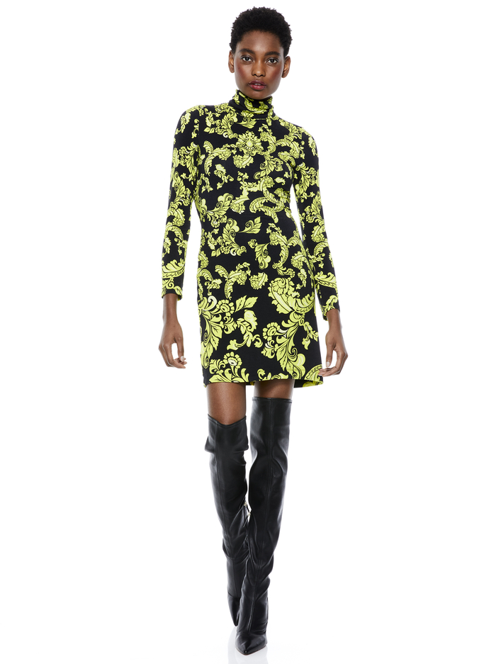 DELORA TURTLENECK MINI DRESS - SHOW ME LOVE LIME PUNCH MULTI - Alice And Olivia