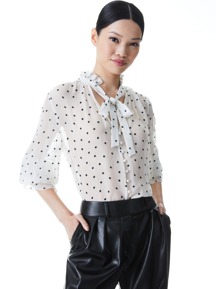 REILLY TIE NECK BLOUSE - CUTIE POLKA DOT ANTIQUE WHITE - Alice And Olivia