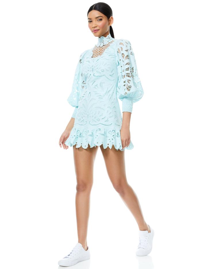 YAZMIN EYELET MINI DRESS - POWDER BLUE - Alice And Olivia