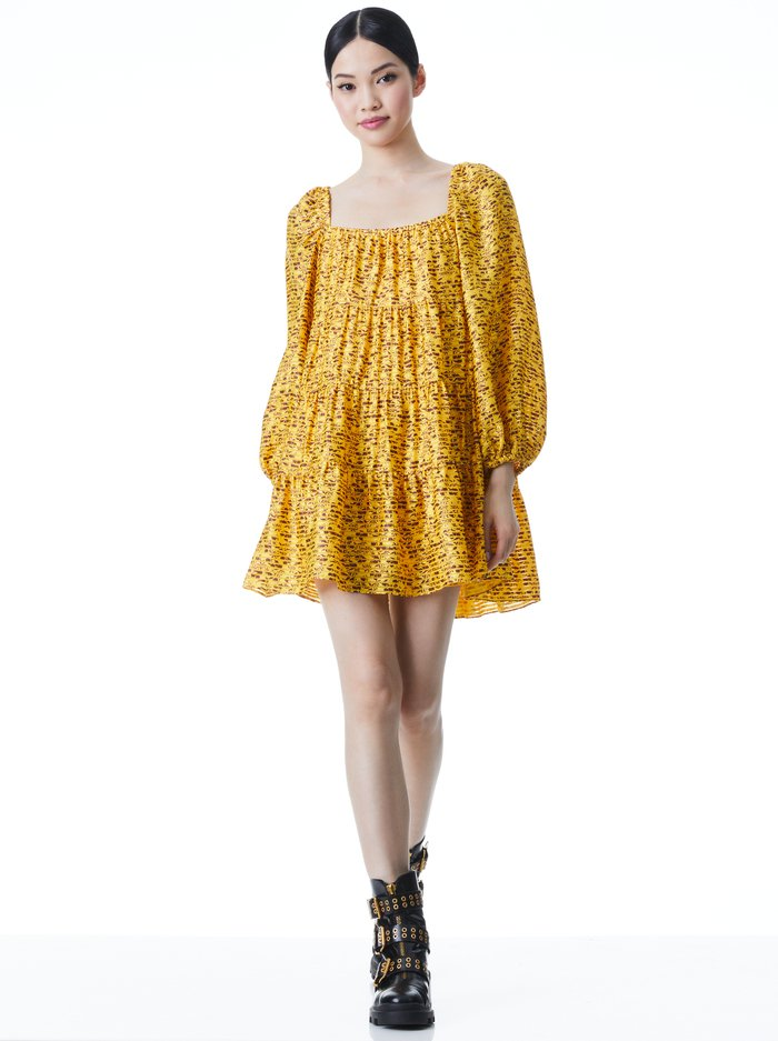 ROWEN TIERED MINI DRESS - ROME FLORAL TUSCANY - Alice And Olivia