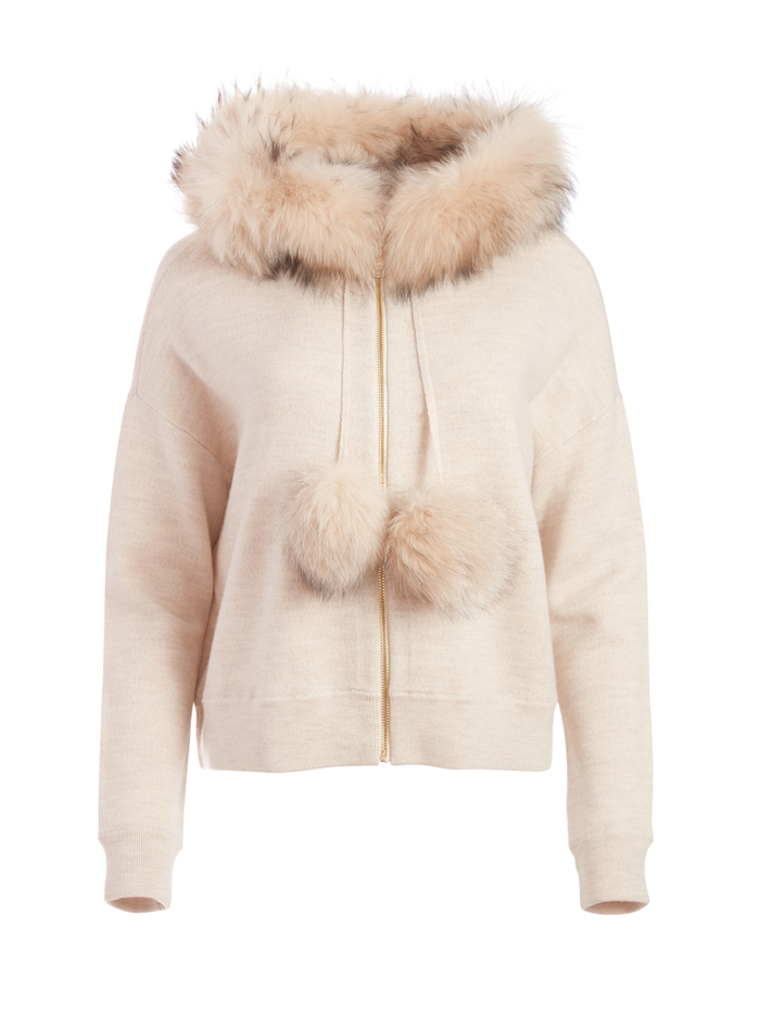 OSCAR FUR TRIM HOODIE - OATMEAL - Alice And Olivia