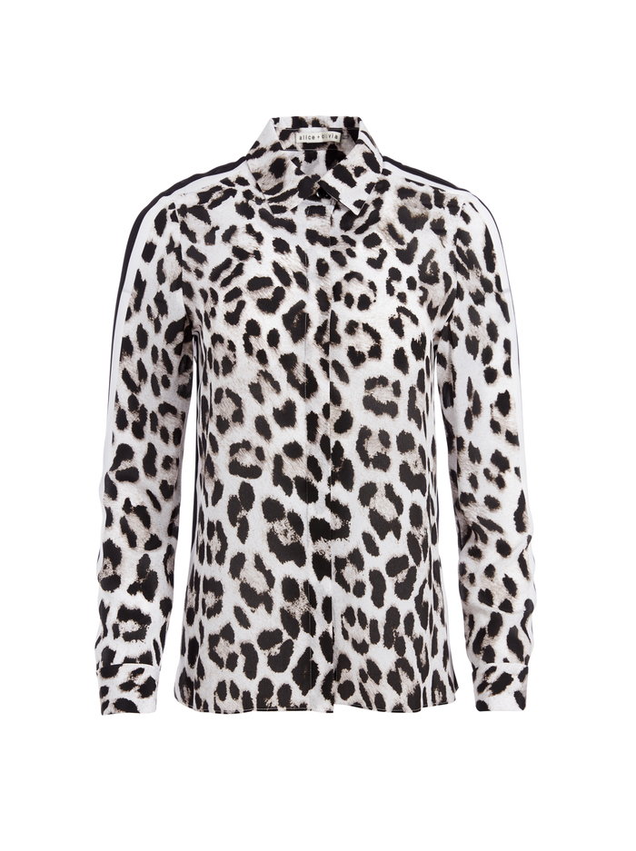 WILLA LEOPARD PLACKET TOP - ROYAL LEOPARD LG - Alice And Olivia