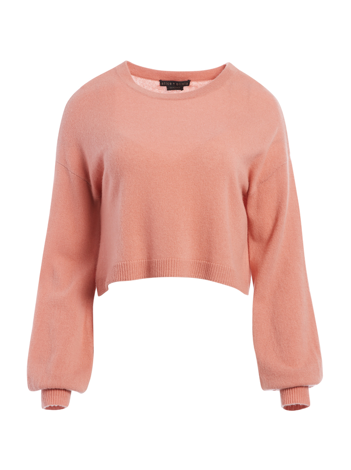 ANSLEY WIDE SLEEVE CROPPED SWEATER - ROSE TAN - Alice And Olivia