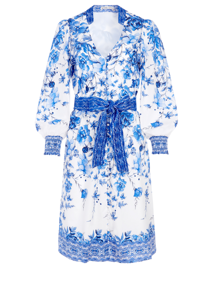 SHANLEY BUTTON FRONT FLORAL MIDI DRESS - FORGET ME NOT MULTI - Alice And Olivia